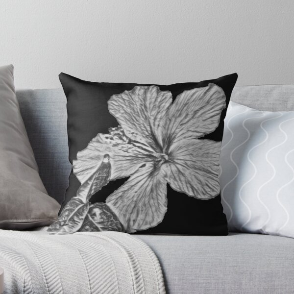 Sketched Hibiscus with Leaves - Digital Art  Throw Pillow