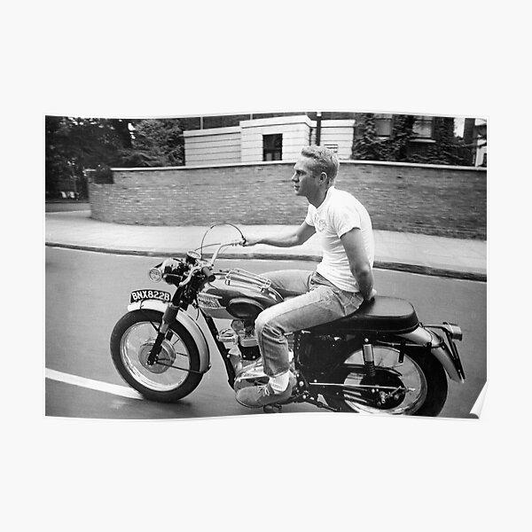 Steve McQueen sur la moto Poster