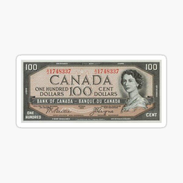 1954 Canadian $100 Bill Sticker