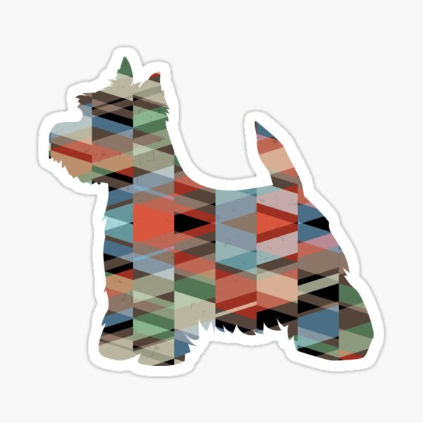 West Highland White Terrier - Westie - Colorful Geometric Pattern Silhouette - Plaid Sticker