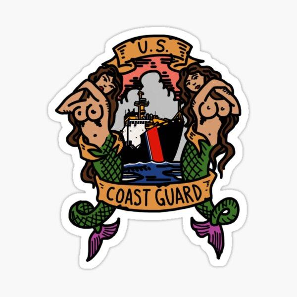 Coast Guard Old School Mermaids Buoytender Sticker