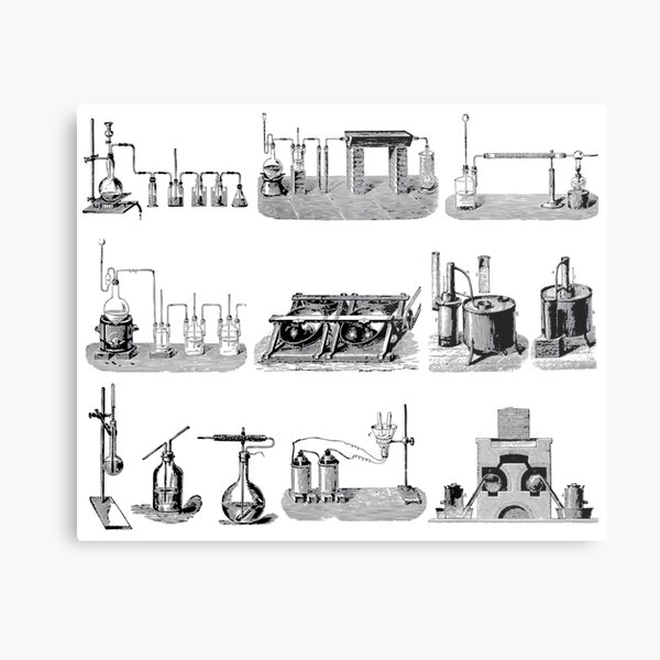 Vintage Science and Engineering Poster: Antique Chemistry Metal Print