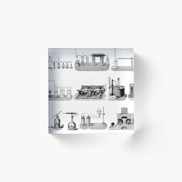 Vintage Science and Engineering Poster: Antique Chemistry Acrylic Block