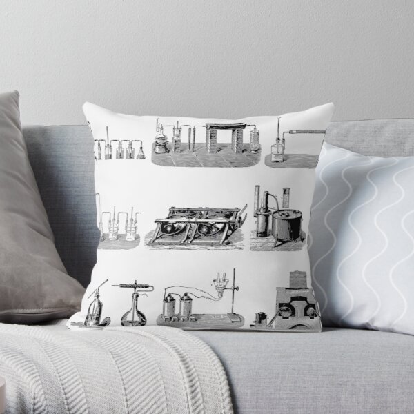 Vintage Science and Engineering Poster: Antique Chemistry Throw Pillow