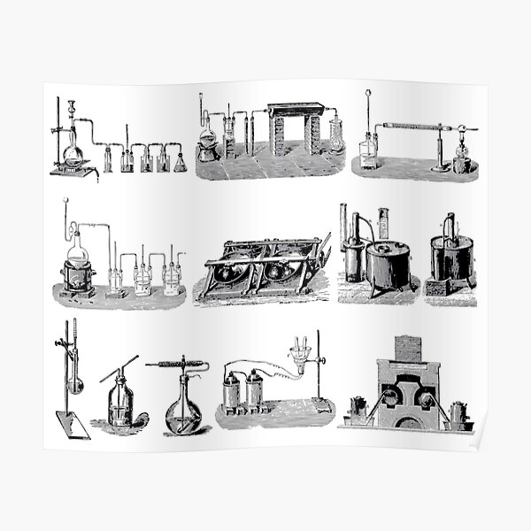 Vintage Science and Engineering Poster: Antique Chemistry Poster