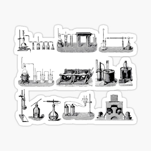 Vintage Science and Engineering Poster: Antique Chemistry Sticker