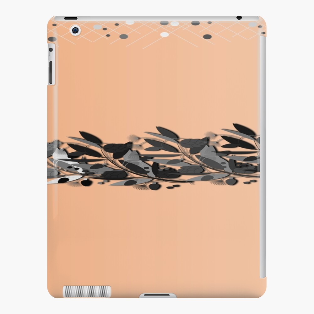 Pale Peach  with different grey shades of feathers  iPad Case & Skin
