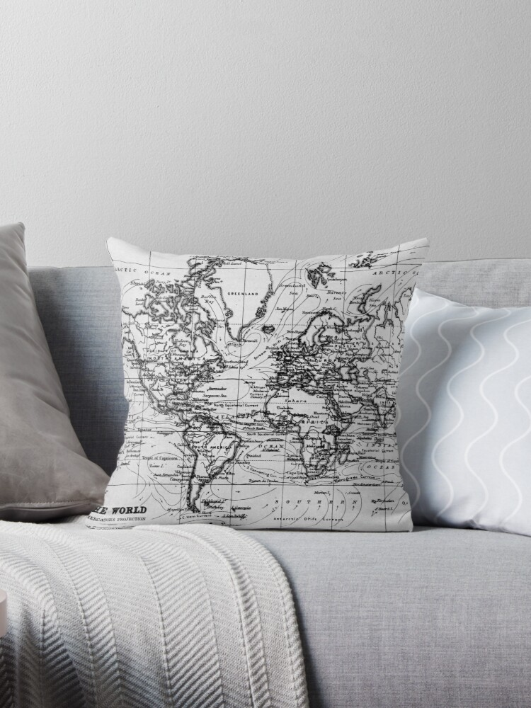World map 1899 white black throw pillows by bravuramedia world map 1899 white black gumiabroncs Image collections