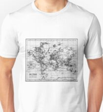 World Map (1899) White & Black  Unisex T-Shirt
