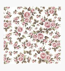 Elegant chic vintage pink brown roses flowers Photographic Print