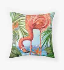 Flamingo Beach Revisited Throw Pillow