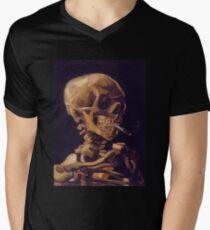 Vincent Van Gogh's 'Skull with a Burning Cigarette'  Men's V-Neck T-Shirt
