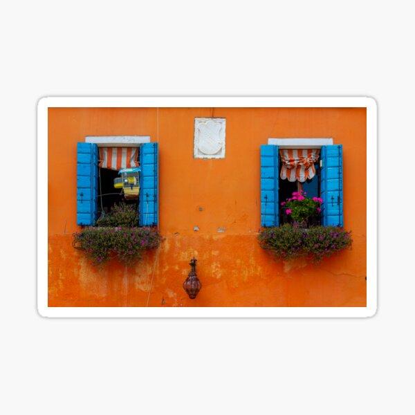 Two windows in Burano Sticker
