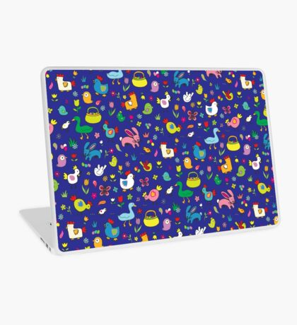Spring Chicks and Bunnies - Blue - cute Easter pattern by Cecca Designs Laptop Skin