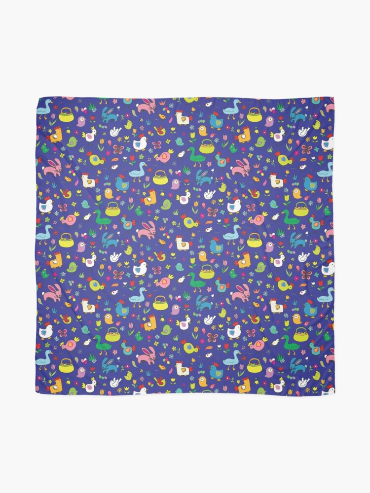 Alternate view of Spring Chicks and Bunnies - Blue - cute Easter pattern by Cecca Designs Scarf