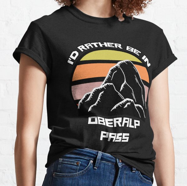 I'd Rather Be In Oberalp Pass Switzerland Vintage Sunset Ski Mountain Swiss Alps Classic T-Shirt