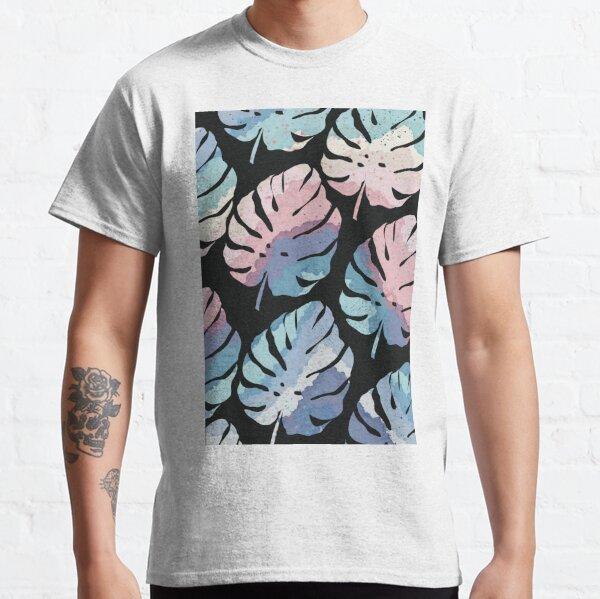 Rainbow Monstera Leaf Pattern - Black Background Classic T-Shirt