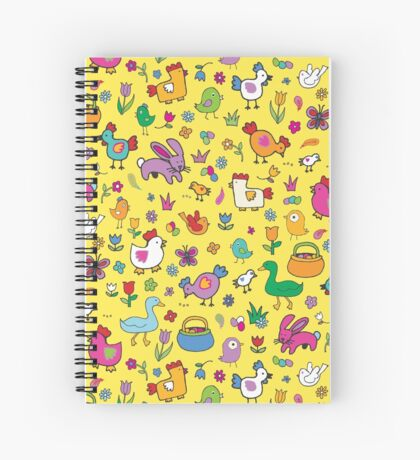 Spring Chicks and Bunnies - Yellow - cute Easter pattern by Cecca Designs Spiral Notebook