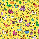 Spring Chicks and Bunnies - Yellow - cute Easter pattern by Cecca Designs by Cecca-Designs