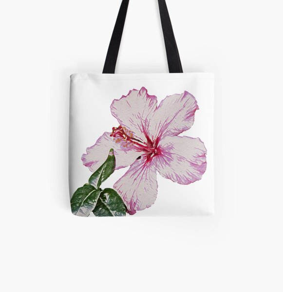 Sketched Hibiscus with Leaves (Colours) - Digital Art All Over Print Tote Bag