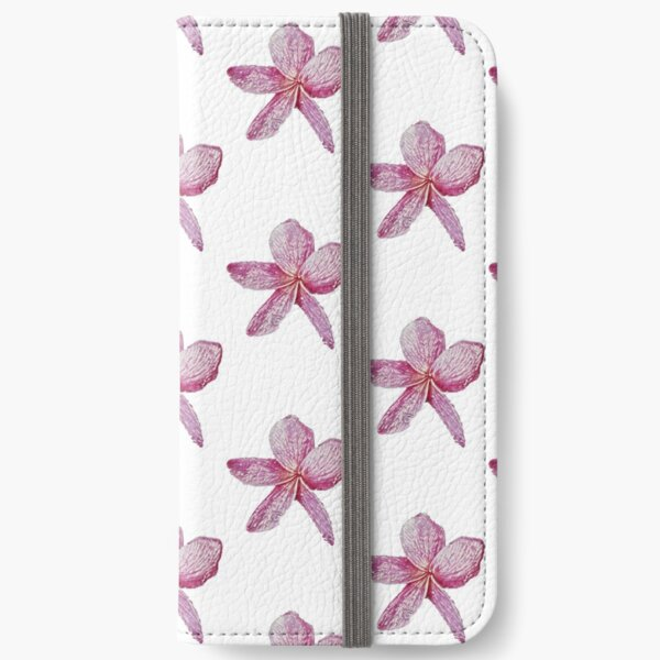 Sketched Frangipani (Pink) - Digital Art iPhone Wallet
