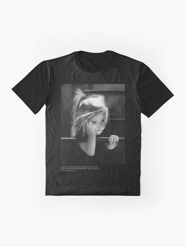 Alternate view of That one childhood playground that got torn down/you never saw again (charcoal drawing) Graphic T-Shirt