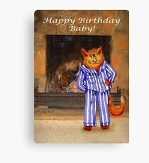 Happy Birthday Baby, cheeky ginger cat in pyjamas Canvas Print