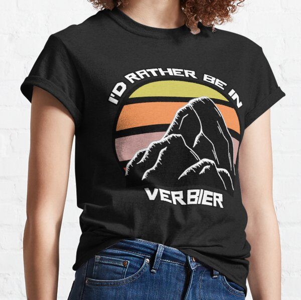 I'd Rather Be In Verbier Switzerland Vintage Sunset Ski Mountain Swiss Alps Classic T-Shirt