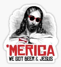Pegatina 'Merica: We got beer and jesus