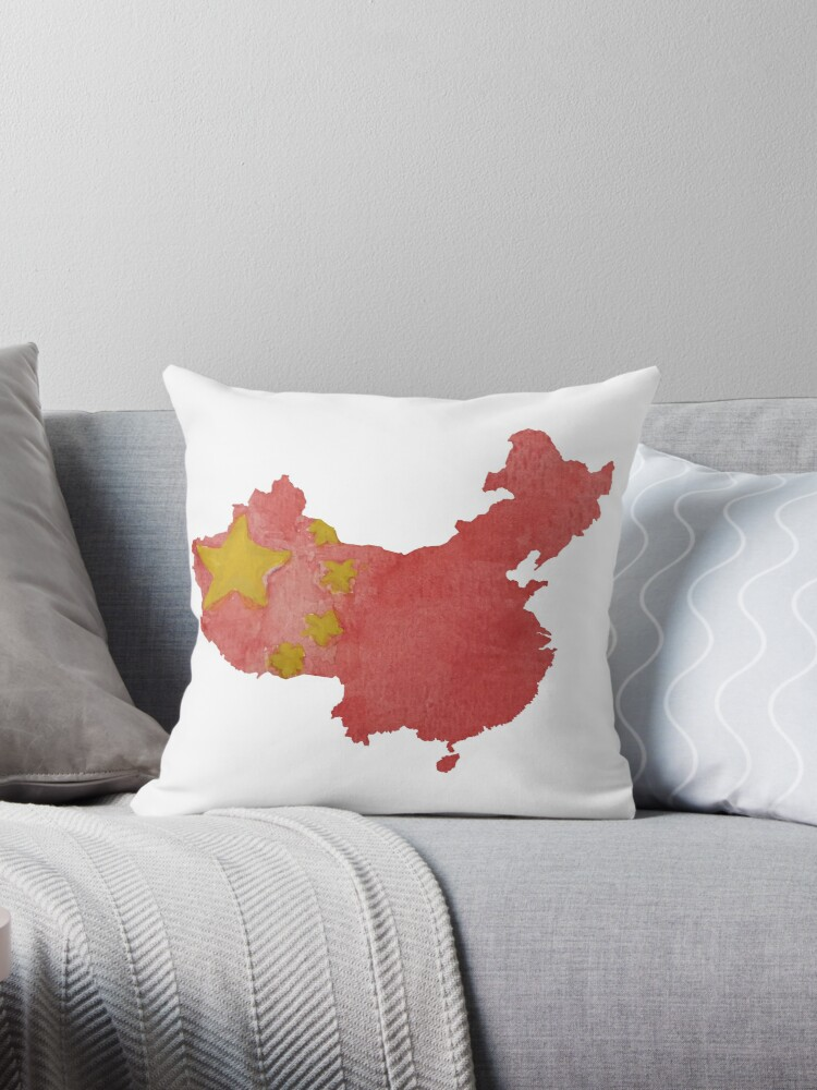 China Country Outline In Chinese National Flag Water Colors Red And