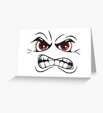 Angry Face Art Drawing Greeting Card