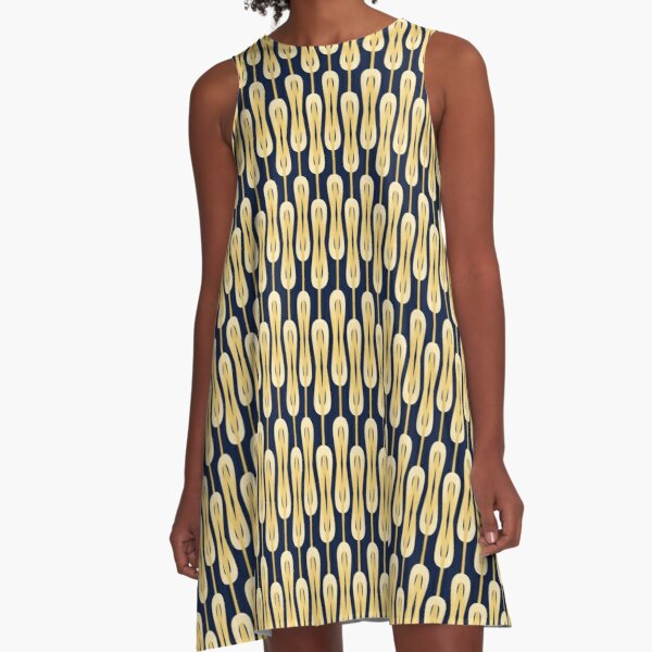 Navy blue and gold oval intarsia 2 A-Line Dress