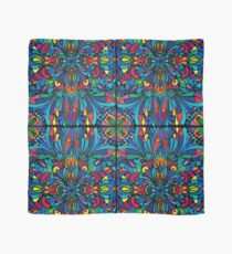 Caribbean inspired  watercolor mandala pattern -BLACK Scarf