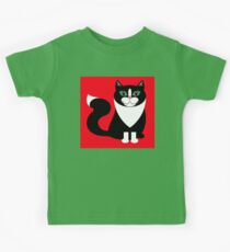 TUXEDO CAT ON RED BACKGROUND Kids Tee