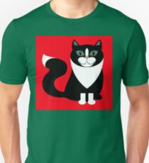 TUXEDO CAT ON RED BACKGROUND T-Shirt