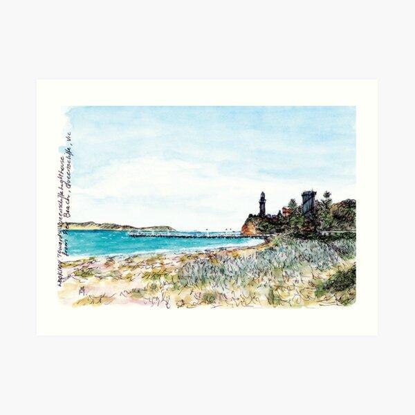 Australian Scene - Pier Beach, Queenscliffe, Vic, Aus. Art Print