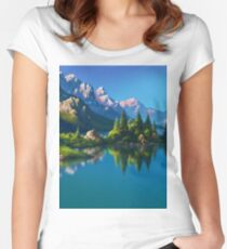 North America Landscape Women's Fitted Scoop T-Shirt