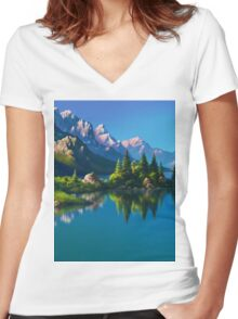 North America Landscape Women's Fitted V-Neck T-Shirt