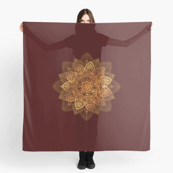 Beautiful Ethnic Gold Floral Mandala on Dark Red Scarf
