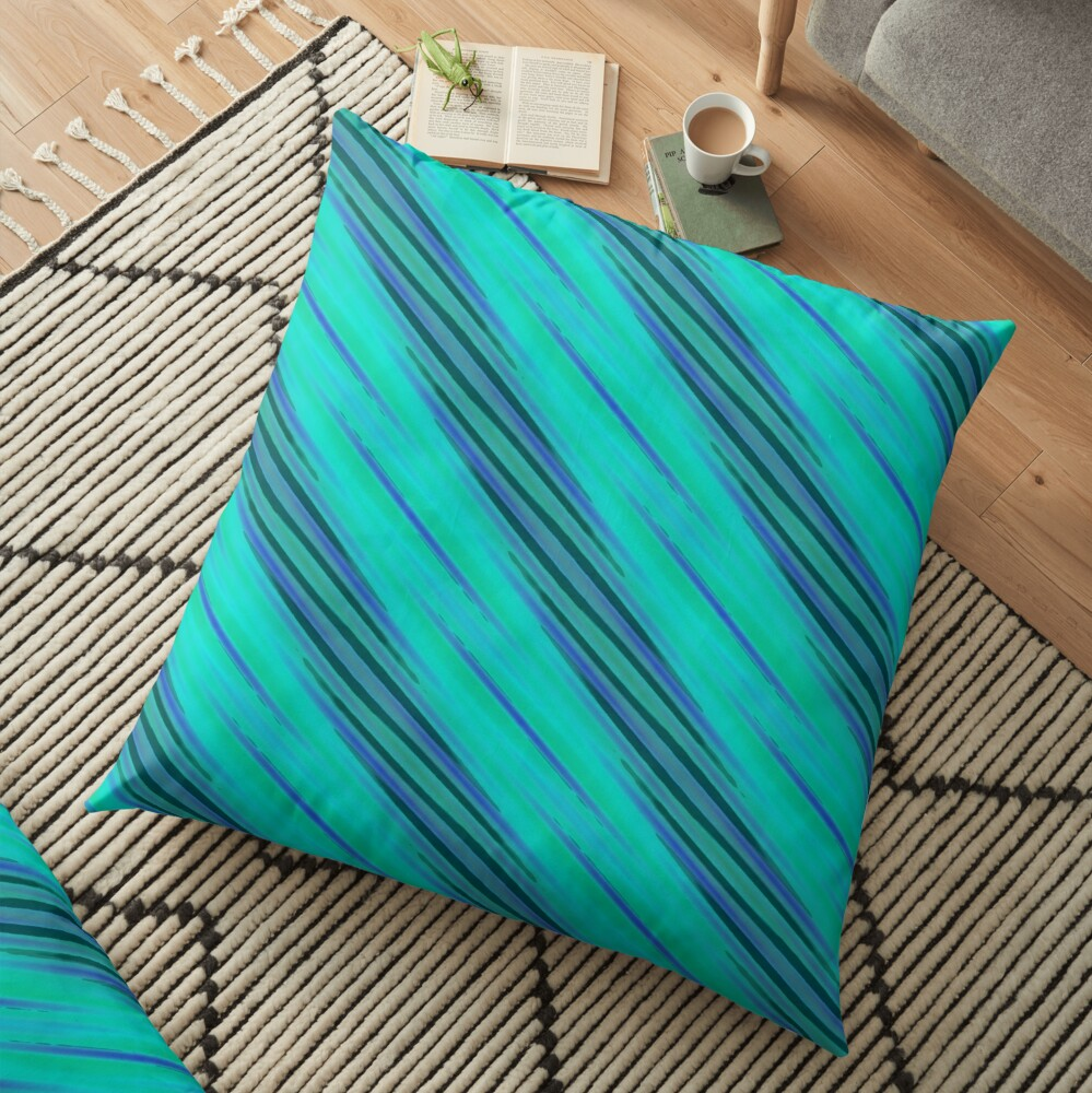 Modern Yellow Blue Cyan Grey Pattern Design 1760 Floor Pillow