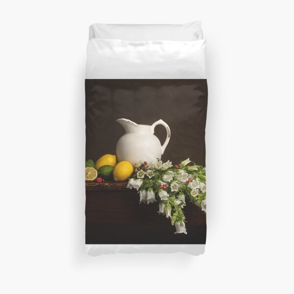 Bell Flower & Citrus Still Life Duvet Cover