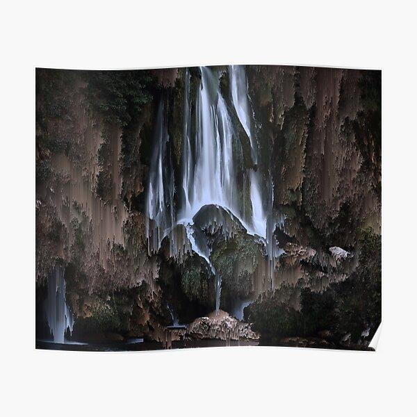 pixel art waterfall melting  Poster