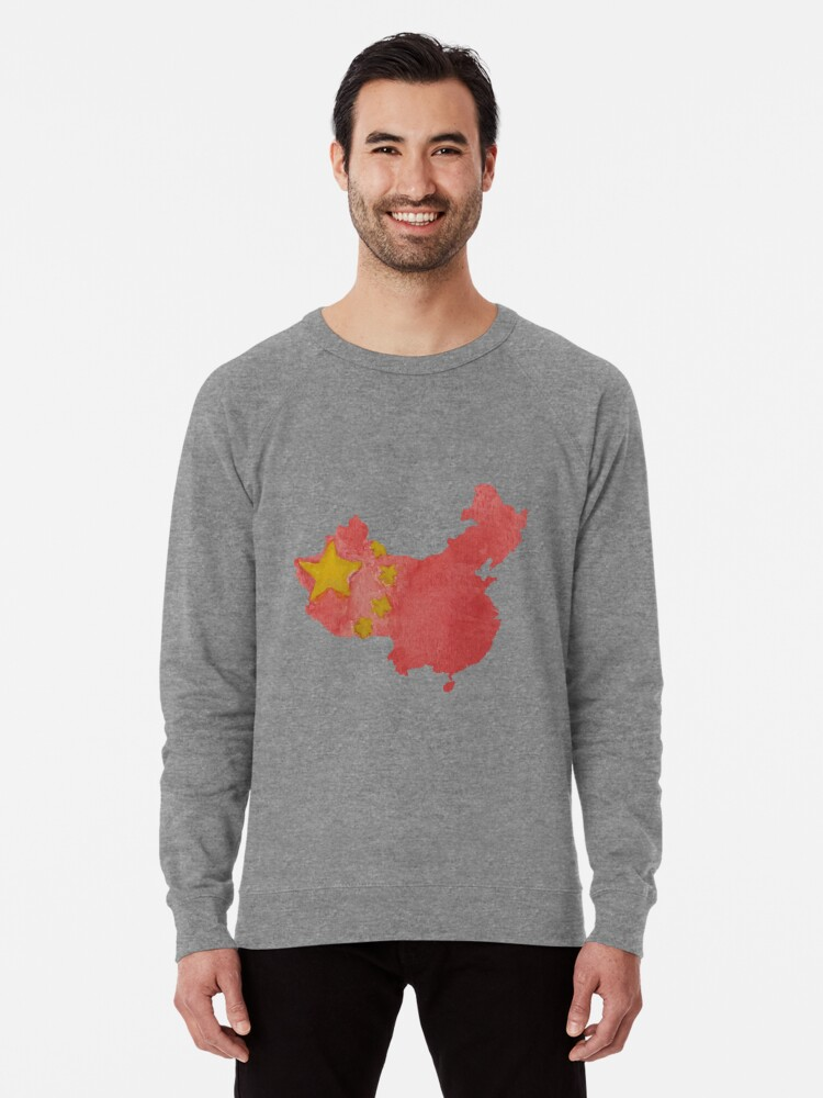 a74234f1f China Country Outline in Chinese National Flag Water Colors Red and Yellow  Lightweight Sweatshirt