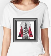 Art design geometric pattern in black,grey and red tones. Women's Relaxed Fit T-Shirt