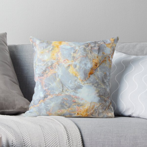 Grey & Gold Marble Throw Pillow