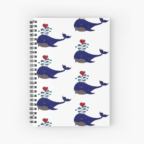 Smiley blue Wally Whale Spiral Notebook