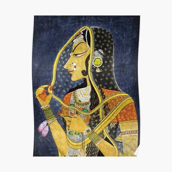 Portrait de femme Bani Thani en costume traditionnel du Rajasthan, la Joconde de l'Inde par Nihal Chand Poster
