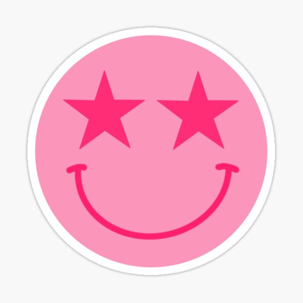 Pink Star Smiley Face Sticker