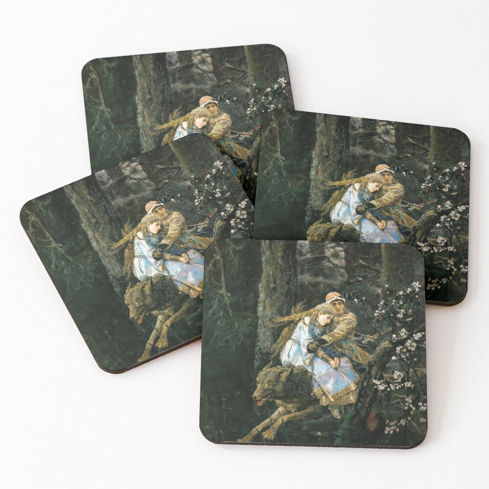 Ivan tsarevich riding the grey wolf Coasters (Set of 4)