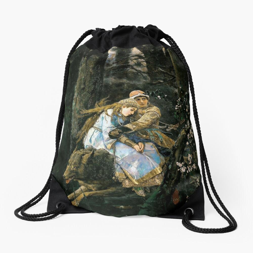 Ivan tsarevich riding the grey wolf Drawstring Bag